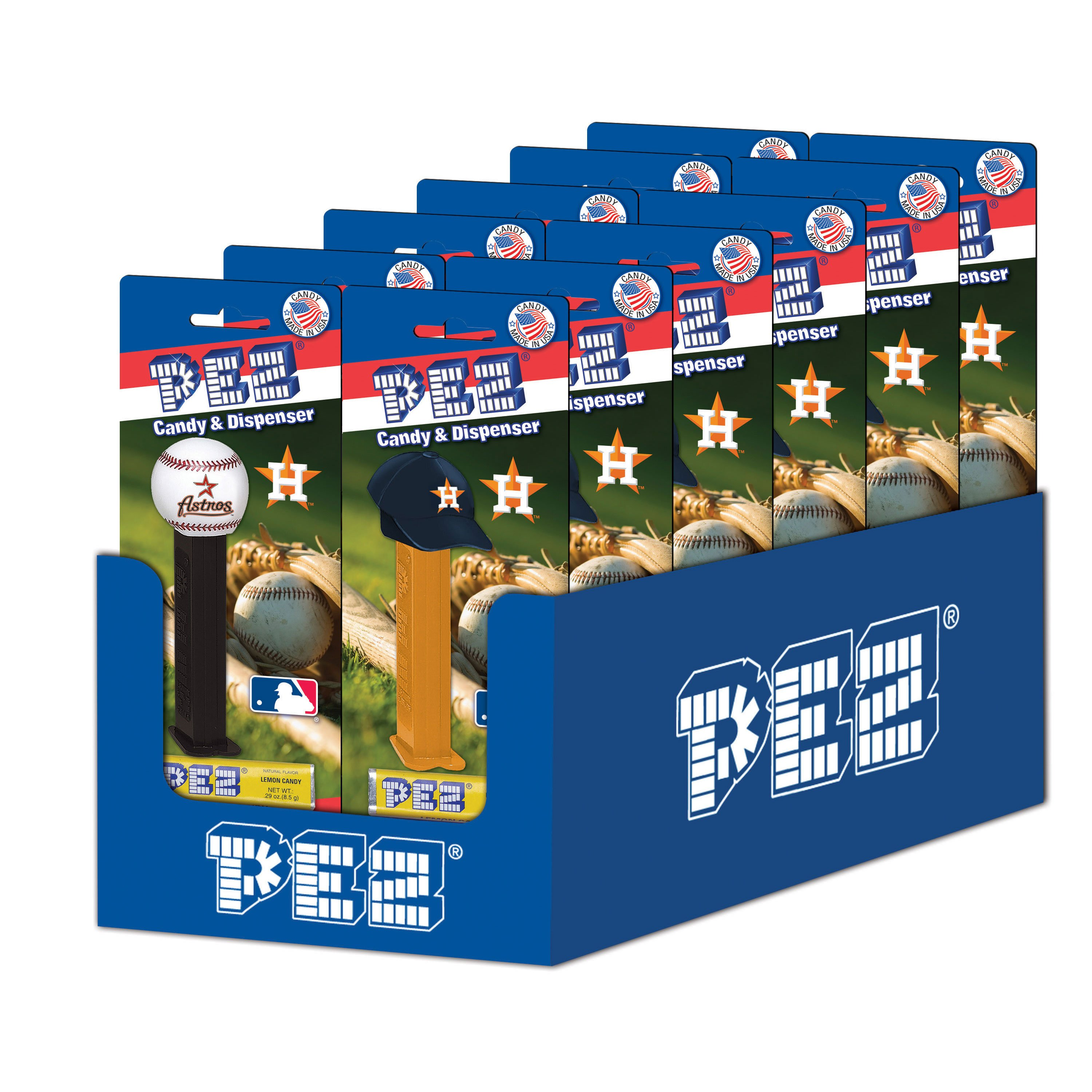 PEZ Candy MLB: Houston Astros, candy dispenser with 3 rolls of assorted fruit candy, box of 12