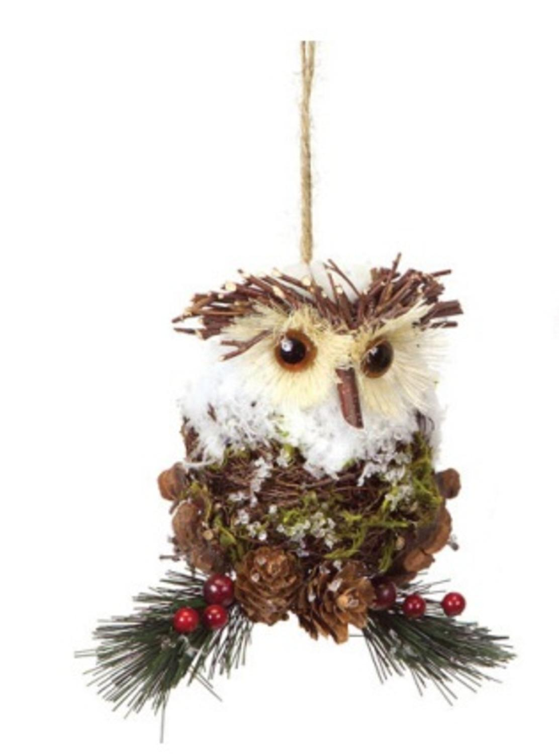 55 modern lodge iced pine cone and twig rustic owl christmas ornament