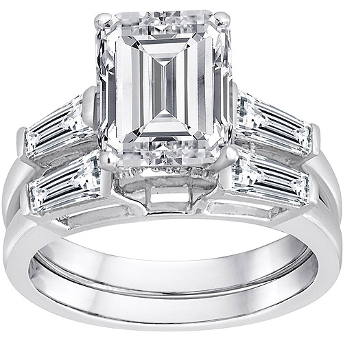 Pure Perfection Certified Bridal Ring with Emerald-Cut Stone Made with Swarovski Zirconia