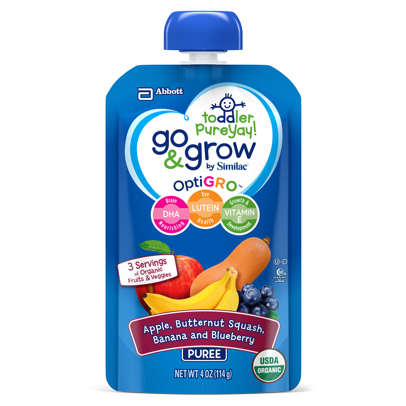 Go & Grow by Similac Fruit and Veggie Pouches with OptiGRO, Apple, Butternut Squash, Banana, Blueberry Puree, For Toddlers, Organic Baby Food, 4 ounces, Pack of 6