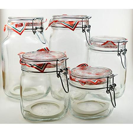 Bormioli Rocco Glass Pilsner Glass - Glass Canning Canister Jars - Bormioli Rocco Fido Set of 5 (Five) jars - sizes: .5L, .75L, 1L, 1.5L and 2 Liters