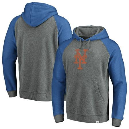 reputable site 604a3 00afa New York Mets Fanatics Branded Team Logo Tri-Blend Pullover Hoodie -  Gray/Royal