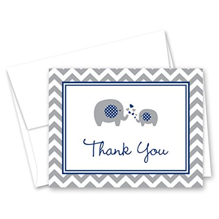 50 Cnt Navy Chevron Elephant Baby Thank You Cards - image 1 of 3