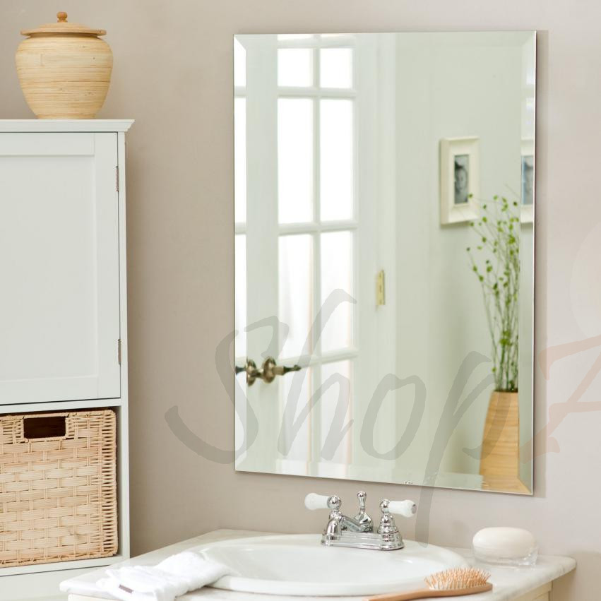 30 X 40 Inch Rectangle Wall Mounted Frameless Mirror With Beveled Edge Backed with strong panel , Hangs Horizontal &... by PARNOO