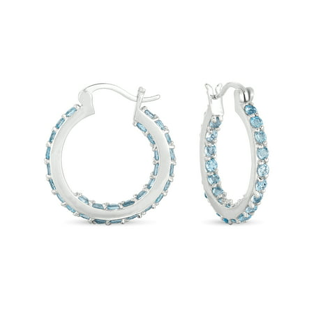 3 Carat T.G.W. Blue Topaz Inside Outside Hoop Earrings in Sterling