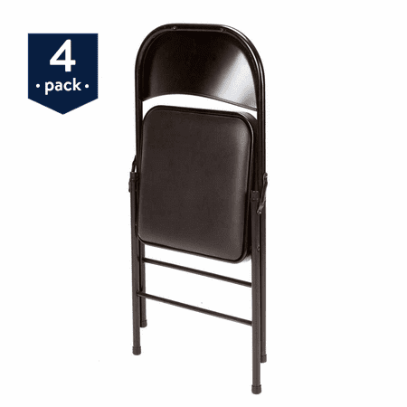 Mainstays Vinyl (4-Pack) Folding Chair in (Back Plastic Folding Chair)