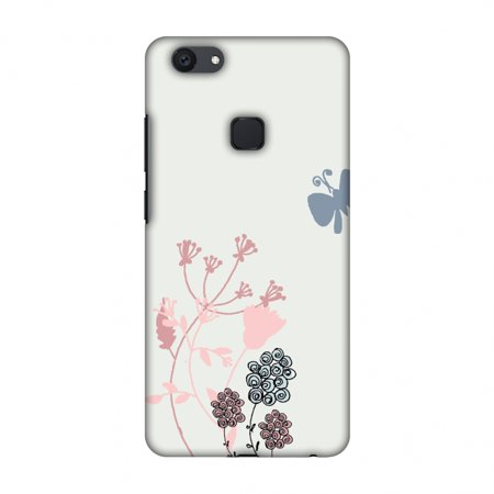 - Vivo Y79 Case - Flowers and butterfly- Pale grey, Hard Plastic Back Cover, Slim Profile Cute Printed Designer Snap on Case with Screen Cleaning Kit