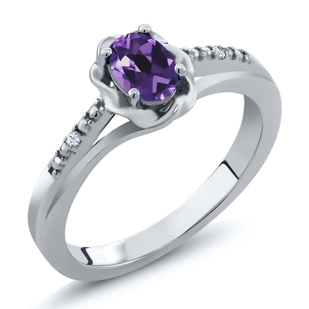 0.37 Ct Oval Purple Amethyst White Created Sapphire 14K White Gold Ring