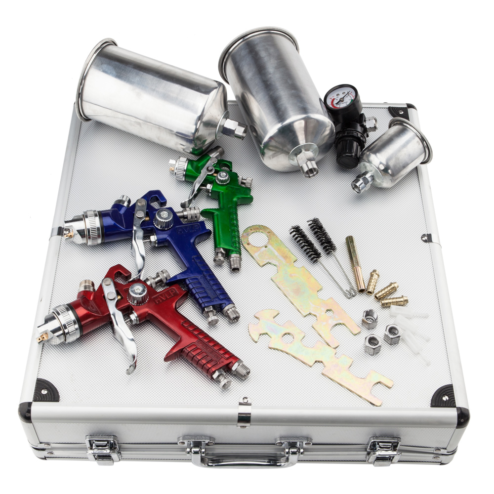 UBesGoo 3 HVLP 1.0/1.4/1.7mm Air Spray Gun Kit, Auto Paint Car Primer Detail Basecoat Clearcoat with Case