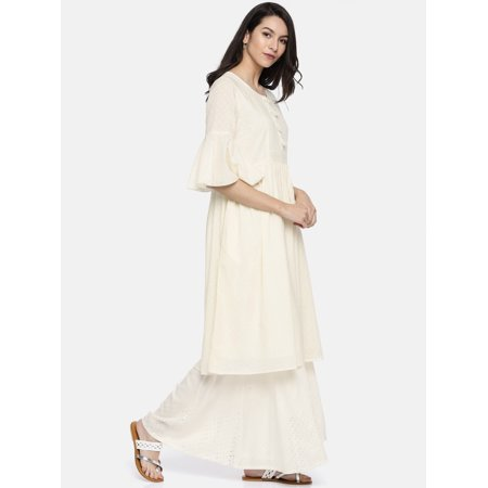 all about you from Deepika Padukone Women Off-White Woven Design A-Line Kurta - image 4 of 6