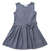 Z by Yoon Little Girls Grey Bow Pleated School Uniform Jumper Dress 3T-7