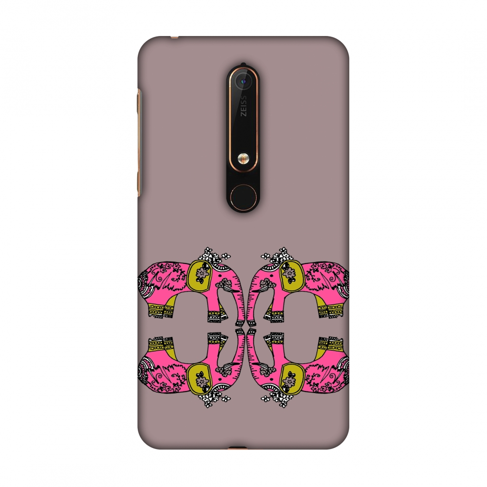 New Nokia 6 2018 Case - Elephant repeats- Plum, Hard Plastic Back Cover, Slim Profile Cute Printed Designer Snap on Case with Screen Cleaning Kit
