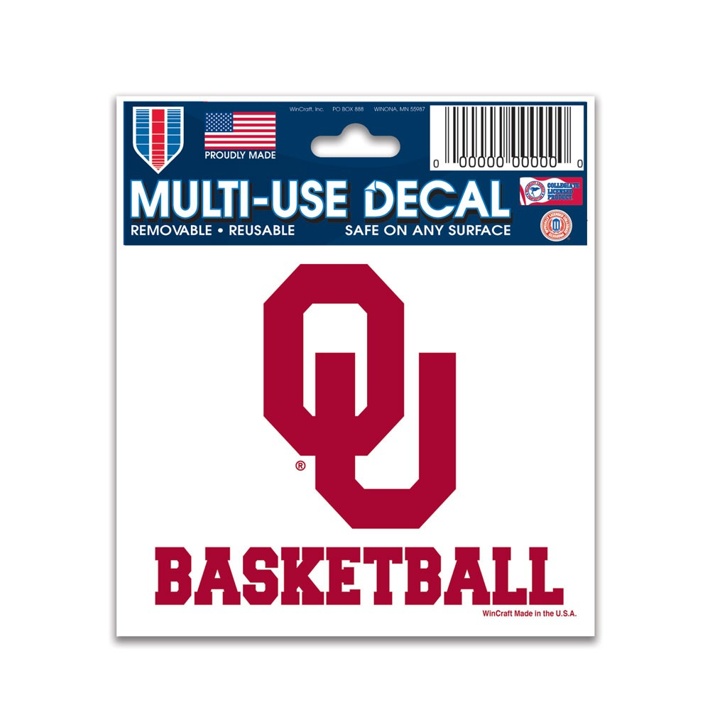 Oklahoma Sooners Official NCAA 4.5 inch x 6 inch  Car Window Cling Decal by Wincraft