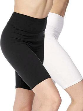 2 Pack Women's 3 inch Wide Waistband Biker Leggings Bike Shorts For Workout Running Athletic Yoga