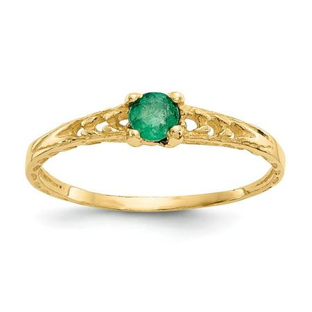 Roy Rose Jewelry 14K Yellow Gold Madi K 3mm Emerald Birthstone Baby Ring ~ Size: 3