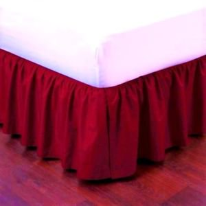 """Full Red Pleated Dust Ruffled Bed Skirt Bedding Bed Dressing with Split/Open Corners and Easy Fit 14"""" Drop"""
