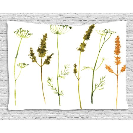 Watercolor Tapestry  Wild Flowers Herbs And Twigs Wilderness Untamed Plants Ecological Art  Wall Hanging For Bedroom Living Room Dorm Decor  60W X 40L Inches  Vermilion Dark Green  By Ambesonne