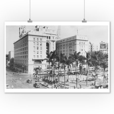 San Diego, CA City View of US Grant Hotel Photograph (9x12 Art Print, Wall Decor Travel Poster) (Party City San Diego Ca)