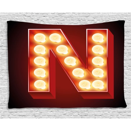 Letter N Tapestry, Old Fashioned Movie Theater Carnival Casino Entertainment Night Life, Wall Hanging for Bedroom Living Room Dorm Decor, 60W X 40L Inches, Vermilion Yellow Black, by - Casino Night Decor