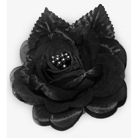 12 Silk Roses Wedding Favor Flower Corsage  - Black