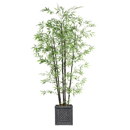 "78"" Tall Bamboo Tree Artificial Faux Greenery In Fiberstone Planter By Minx NY"