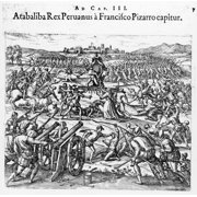 Capture Of Atahualpa 1532 Ncapture Of Atahualpa The Last Inca King Of Peru By The Spanish Under Francisco Pizarro In 1532 Line Engraving By Theodor De Bry From India Occidentales 1598 Rolled Canvas Ar