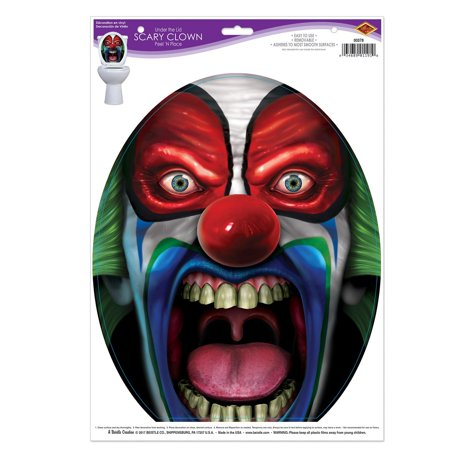Club Pack of 12 Halloween Toilet Under the Lid Scary Clown Peel 'N Place - Scary Halloween Animated Wallpaper