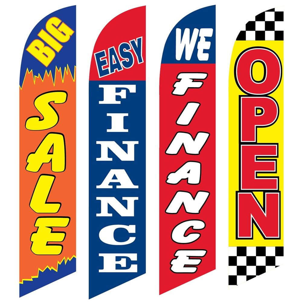 4 Advertising Swooper Flags Big Sale Easy Finance We Finance Open