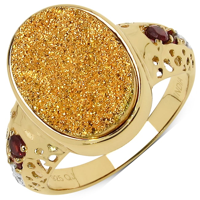 Malaika  Goldplated Sterling Silver 4 3/4Ct Golden Drusy Garnet And White Topaz Ring