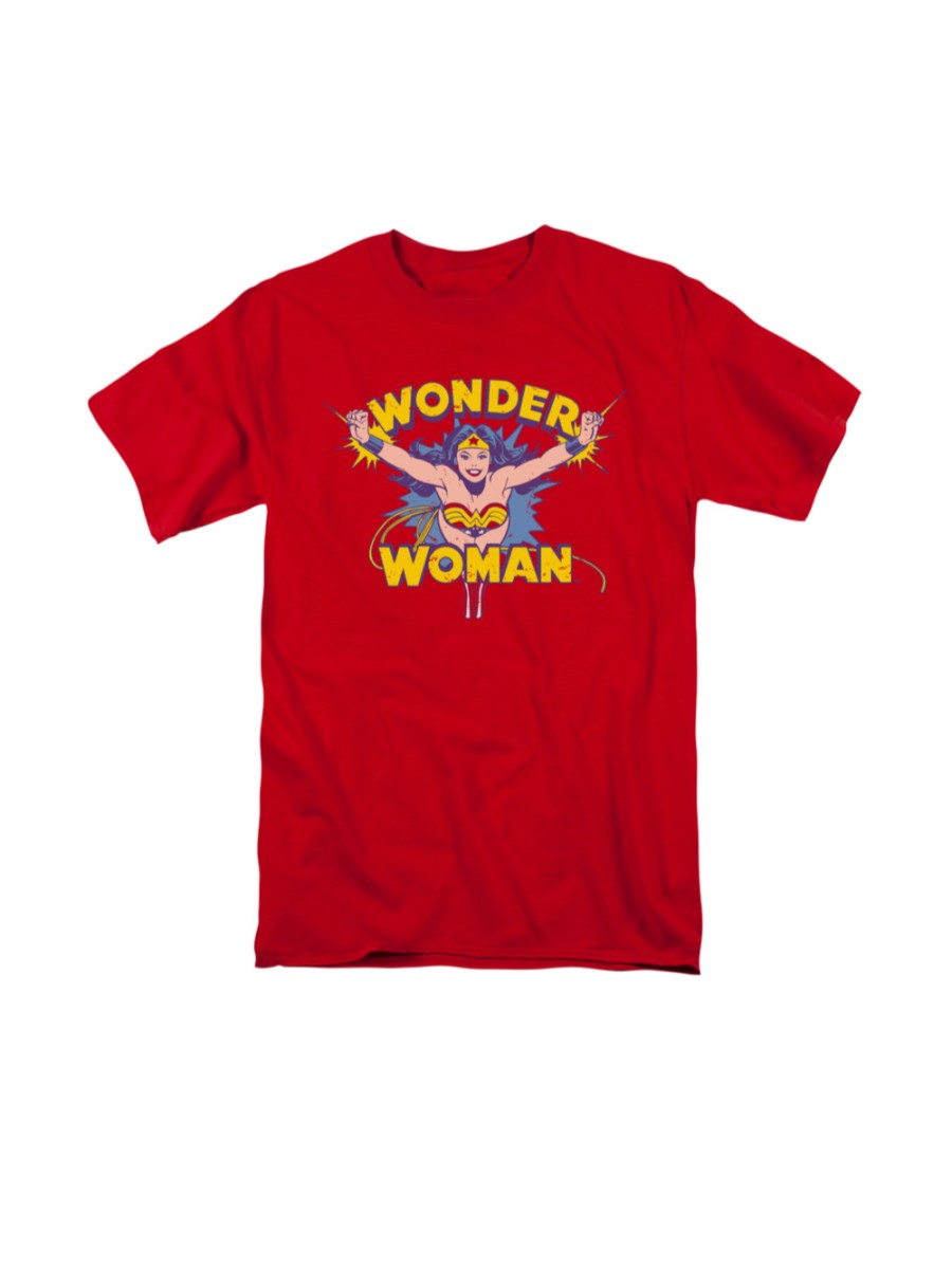 DC Comics Wonder Woman Vintage Style Flying Through Logo Red  Adult T-Shirt