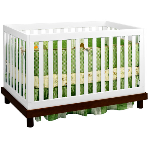 Baby Mod - Olivia 3-in-1 Fixed Side Convertible Crib, Espresso and White