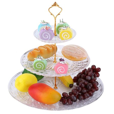 Fruit Tray For Halloween Party (WALFRONT 3 Tier Cake Plate,3-Tier Acrylic Round Cake Tray Fruits Nuts Desserts Display Holder for Party Wedding Use, 3 Tier Cake)