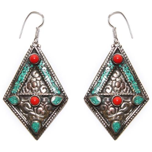 Wink International Silvertone Turquoise and Coral Diamond-shaped Earrings (Nepal)