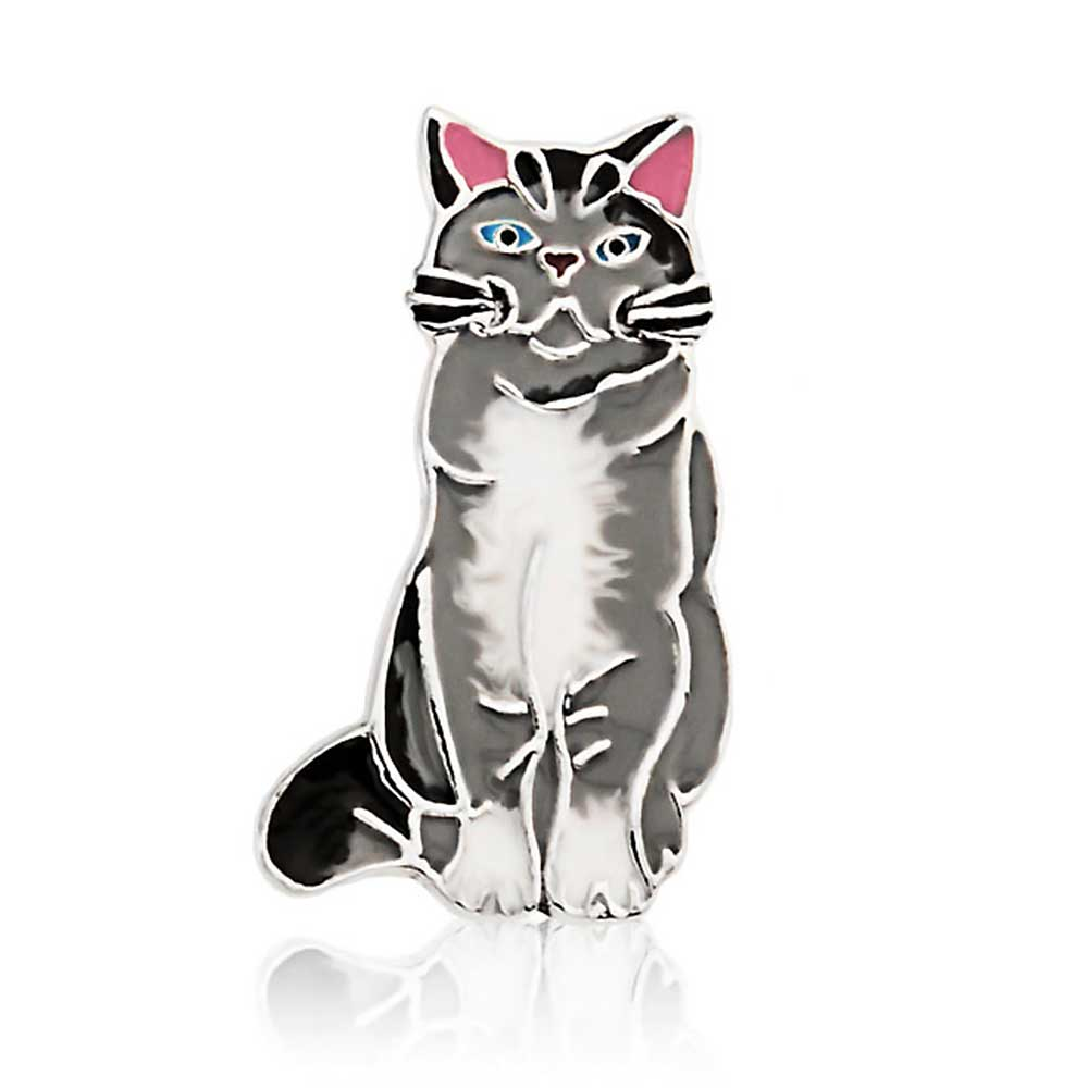Bling Jewelry Grey Black Enamel Sitting Cat Brooch 925 Silver Animal Pin by Bling Jewelry