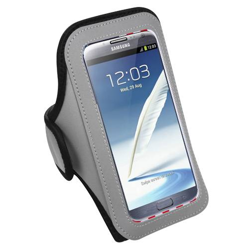 Premium Large Size Sport Armband Case for Samsung Galaxy  Note 4/ Note 3 - Gray + MYNETDEALS Mini Touch Screen Stylus