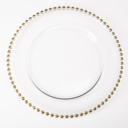 "Richland Glass Charger Plate Gold Beaded 13"" Set of 12"