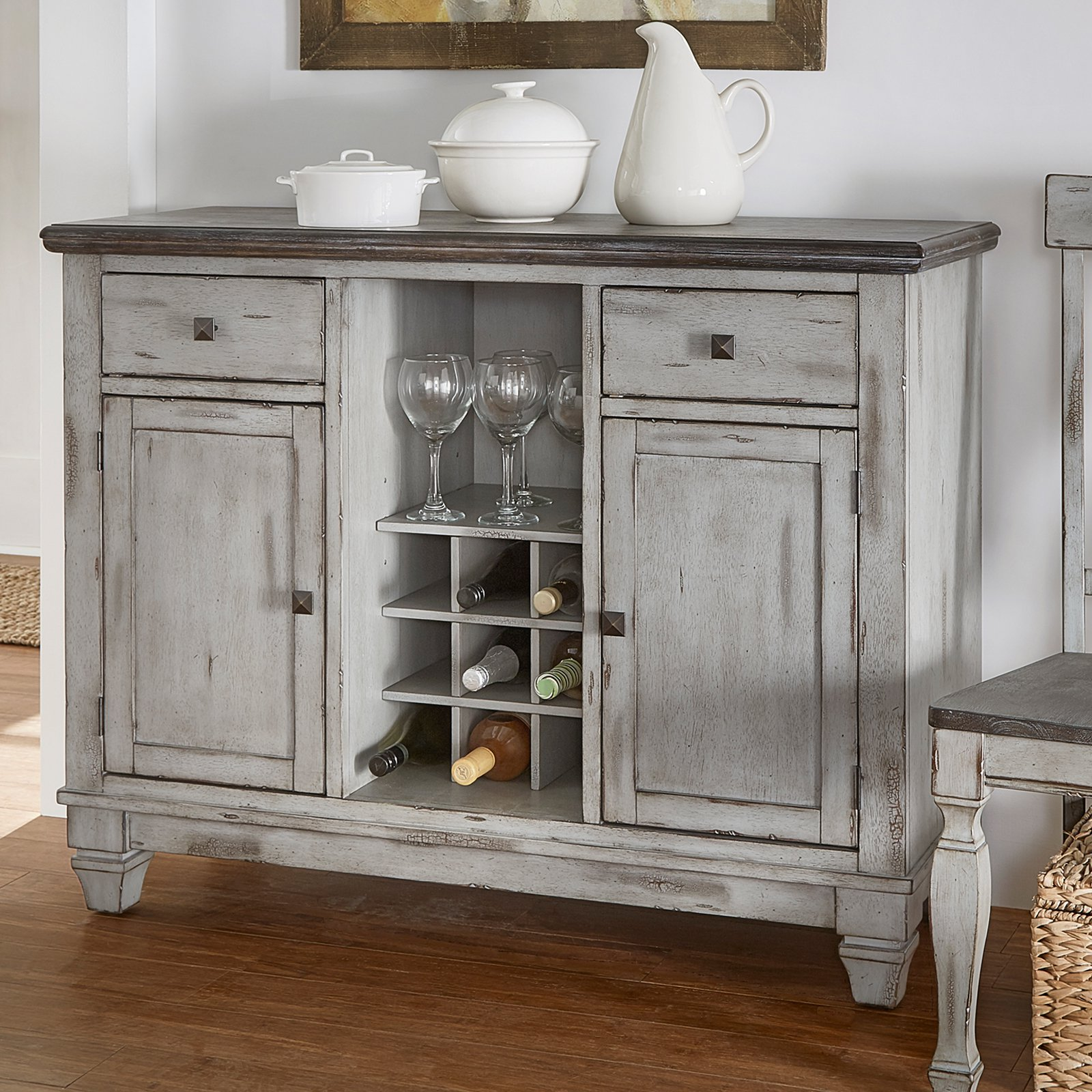Weston Home Two Tone Server, Coffee and Antique Grey