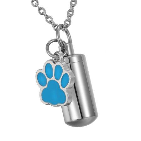 Blue Dog Paw Cylinder Cremation Jewelry Keepsake Memorial Urn Necklace Key Chain](Dog Tag Necklace)