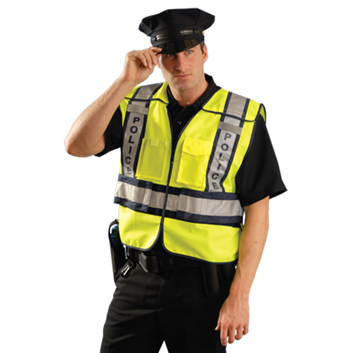 Occunomix LUX-PSP ANSI 207 Solid Public Police Safety Vest-Yellow/Black