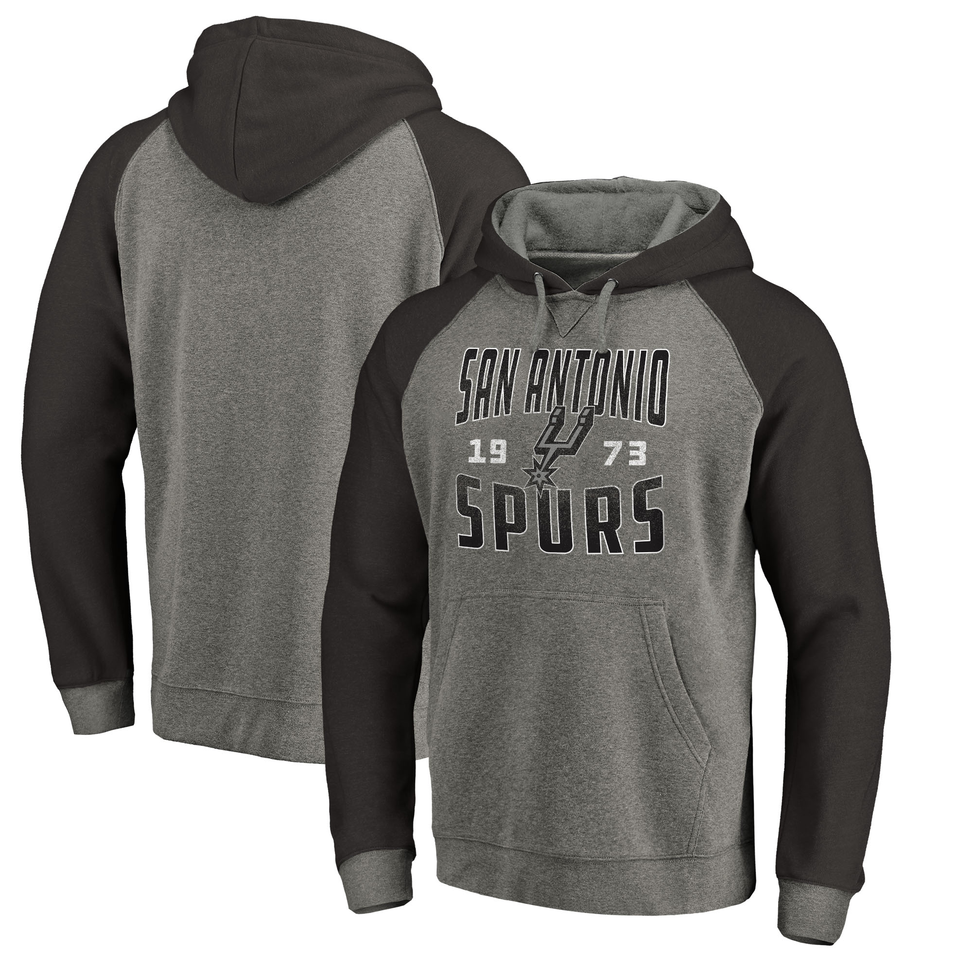 San Antonio Spurs Fanatics Branded Antique Stack Big & Tall Tri-Blend Raglan Pullover Hoodie - Ash