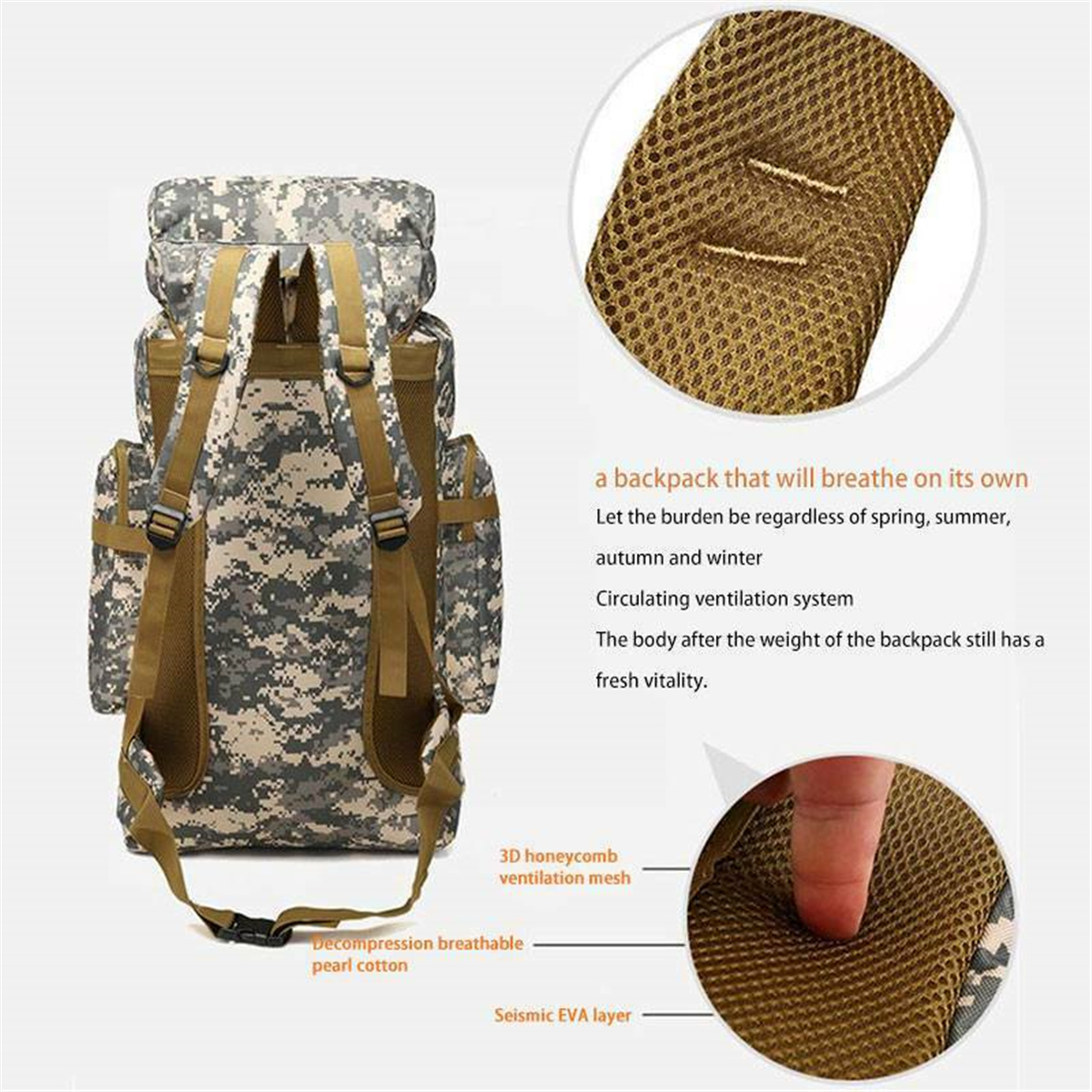 80L Molle Tactical Military Rucksacks Backpack Camping Bag Travel Pouch US NEW