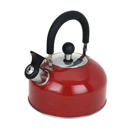 Enamelware Tea Kettle - Mainstays 1.8 Liter Whistling Tea Kettle, Red Stainless Steel