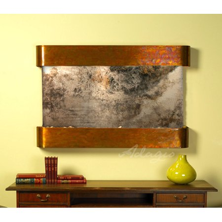 Natural Slate Water Wall - Adagio Sunrise Springs With Green Natural Slate in Rustic Copper Finish and Roun