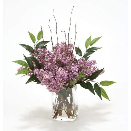 Distinctive Designs Waterlook Silk Lilacs in Rectangular Glass Vase