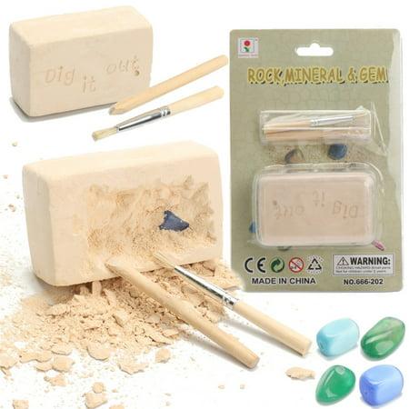 Rock & Gem Dig Gemstone Excavation Kit Archaeology Geology Kids Toy Learning Playsets Gift