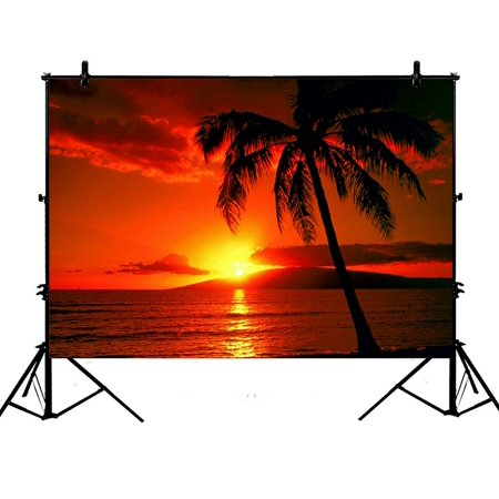 GCKG 7x5ft Hawaii Summer Beach Palm Tree Blue Sea Sunset Polyester Photography Backdrop Studio Photo Props Background