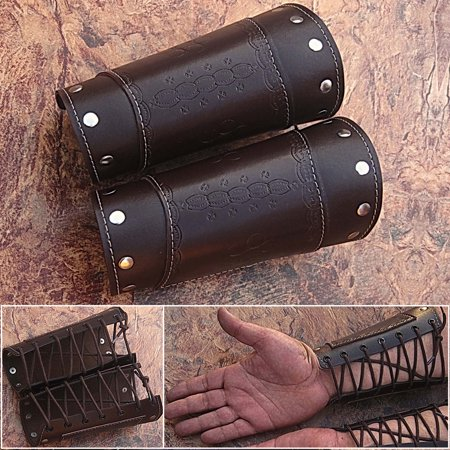 HAND MADE BROWN REAL Leather Armor Pointed Top Fantasy Medieval Halloween CUFF Medieval Leather Armor