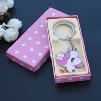 Baby Shower with Stork party Favors (12 PCS) Pink Girl Metal Keychain in Pink color Gift Box JK060Pnk