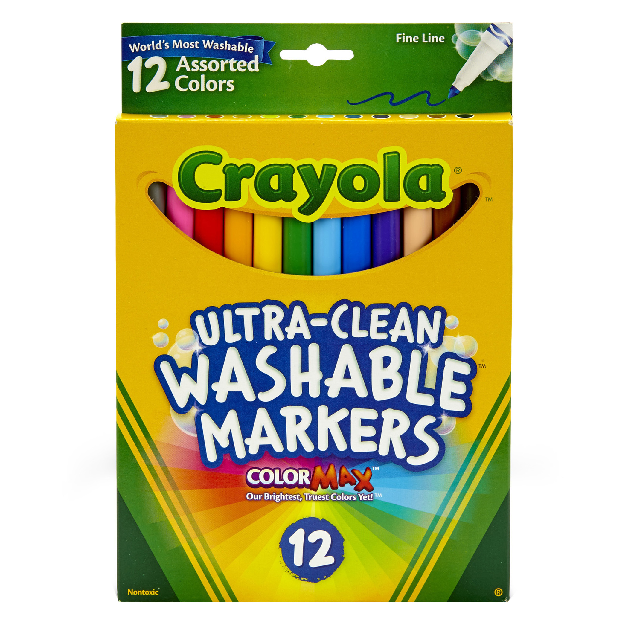 Crayola Fine Line Washable Markers 12 Count Per Box, Set Of 3 Boxes