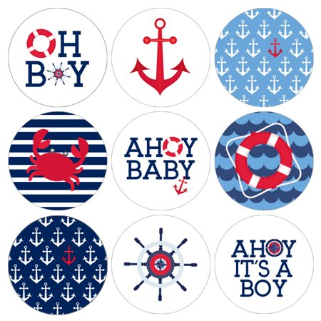 Ahoy Baby Shower Decoration Stickers 216ct - Nautical Boy Baby Shower Favor Party Supplies - Set of 216 - Baby Shower Nautical Decorations